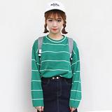 秋装新款 韩国官网同款ulzzang学院风条纹套头学生装毛衣针织衫女