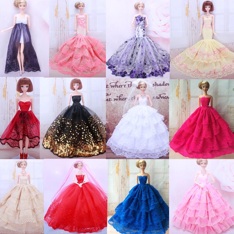 22 可批发特价芭比娃娃衣服多层刺绣豪华晚礼服婚纱公主裙子儿童玩具图片