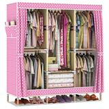 布衣柜实木简易衣柜布艺组装木质大容量牛津布加粗加固折叠布衣橱