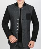 2015春季新款羊毛呢男士夹克中年爸爸男装韩版薄款春秋潮外套上衣