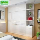 简约白色烤漆2推拉移门衣柜卧室整体木质板式组合组装大衣橱包邮
