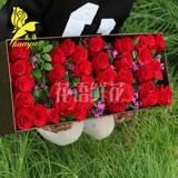 情人节鲜花红香槟蓝粉白玫瑰花礼盒鲜花速递广州天河越秀同城送花
