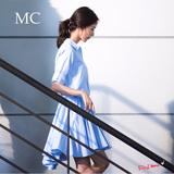 少女时代林允儿明星同款连衣裙浅蓝色宽松衬衫女大摆中裙2016夏装