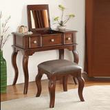定制美式实木翻盖化妆桌书桌欧式小户型卧室多功能乡村梳妆台椅子