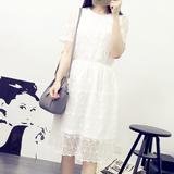 韩版2016夏装新款修身碎花公主裙显瘦白色蕾丝连衣裙夏季中长款潮