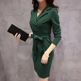 2016春装新款气质女装OL长袖连衣裙修身显瘦v领性感中长款包臀裙