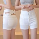 夏天牛仔超短裤白色韩版外穿弹力大码胖mm潮高腰修身显瘦学生女裤