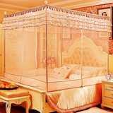 不锈钢支架宫廷式蚊帐三开门1.5床方顶1.2拉链1.8米双人2m有底2.2