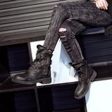 马丁靴女英伦风圆头系带平底真皮擦色短筒低跟学生短靴女春秋单靴