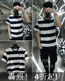 NOSE香港代购 IZZUE NHIZ 16夏 男装 拼色宽条纹刺绣短袖T恤1211