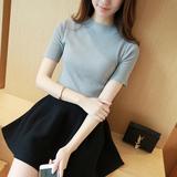 2016夏装新款短袖t恤女韩国女装半高领上衣体恤纯色针织打底衫潮