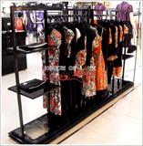 服装店衣架展示架组合加厚铁艺服装架鞋包货架落地多层中岛架