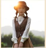 女装春装帅气英伦风中性复古毛呢马夹修身西装呢马甲外套女短款OL