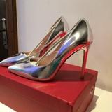 香港IT代购新款潮流金色银色夜店女鞋真皮尖头高跟鞋细跟浅口单鞋