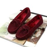 秋冬保暖女鞋加绒加厚单鞋女毛毛鞋棉瓢鞋平底平跟棉鞋黑色豆豆鞋