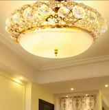 欧式吸顶灯主卧室灯温馨浪漫婚房灯餐厅阳台金色圆形水晶客厅灯
