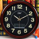 康巴丝夜光静音挂钟万年历欧式大号时钟客厅时尚创意钟表简约挂表