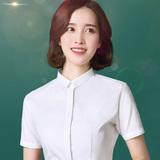 小方领白色衬衫女短袖韩范职业衬衣工装OL工作服夏季女装