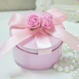 粉色喜糖盒子圆形马口铁创意欧式圆筒费列罗结婚礼盒铁盒成品含糖