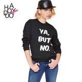 Haoduoyi2016夏新款 欧美时尚男友风字母印花 松紧罗纹长袖卫衣囡