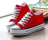春夏新款帆布鞋女松糕鞋休闲学生鞋厚底鞋红色布鞋 隐形内增高6CM