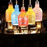 复古酒瓶吊灯美式乡村个性创意酒吧吧台灯麻绳灯咖啡厅艺术灯具