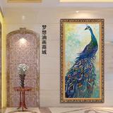 孔雀手绘油画 简约现代客厅竖版无框画 餐厅玄关 过道 走廊装饰画
