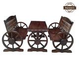 熙蕊迩防腐碳化实木 户外酒吧庭院阳台休闲 双人车轮桌椅组合套件
