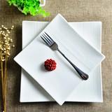 纯白创意西餐盘子陶瓷意面盘平盘牛排盘菜盘蛋糕点心方盘西式餐具