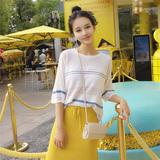 景亦 夏季韩版宽松条纹短袖薄针织衫女套头圆领T恤上衣罩衫防晒衣