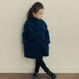 男女童西装领毛呢子夹棉大衣风衣 韩国秋冬装新款中长款亲子外套