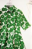 夏日浓荫绿  纯真丝双绉面料 衬衫式连衣裙