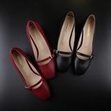 春秋文艺复古低跟一字扣带粗跟单鞋玛丽珍矮跟中跟方头高跟女皮鞋