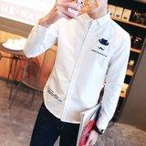 夏季白衬衫男修身型韩版衬衣服薄款男士衬衫青少年长袖衬衫男上衣