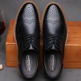 布洛克男鞋雕花潮鞋英伦潮流圆头系带韩版商务内增高6cm真皮鞋子