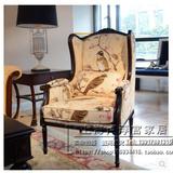 欧式实木沙发椅 美式乡村实木复古单人老虎椅 法式新古典休闲椅