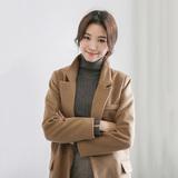 韩国秋冬新款韩版时尚简约百搭修身显瘦纯色女中长款毛呢大衣