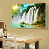 客厅装饰画单幅无框画餐厅墙壁画瀑布山水风景画走廊玄关卧室挂画