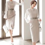 2016春新款 韩版修身钉珠打底衬衫连衣裙裙子套装两件套中长款潮