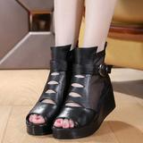 真皮坡跟镂空短靴高跟鞋鱼嘴靴夏季靴防水台夏季厚底凉鞋女鞋单靴