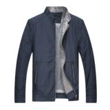 七匹狼新款薄款夹克男中年商务休闲立领外套单茄克衫时尚大码男装