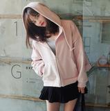 2016春款韩国正品代购Cherrykoko休闲连帽纯色卫衣外套女C63PSJP2