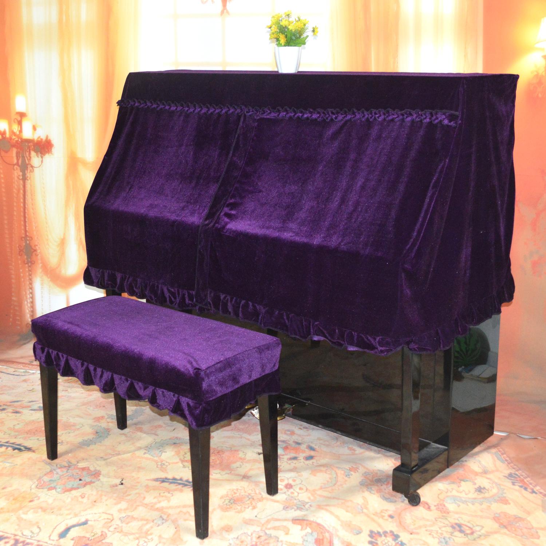 欧雅布艺加厚金丝绒钢琴罩防尘罩半罩简约钢琴套琴凳套全罩盖布图片