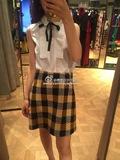 法国代购/Pinko 16年秋冬新款黄色格子半裙