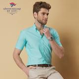 保罗 短袖亚麻休闲宽松男士中年商务薄款衬衣半袖男装纯色潮 衬衫