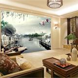 乡村小河客厅电视背景墙纸壁画3D无缝立体阳台卧室环保无纺布壁纸