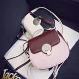 2016新款女包韩版时尚撞色复古锁扣小猪包马鞍手提包单肩斜挎小包