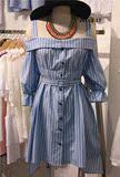 夏季露肩一字领度假背带裙 韩版甜美吊带条纹衬衫裙抹胸连衣裙女