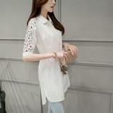 白衬衫女春夏女装韩版修身纯棉中长款蕾丝拼接短袖衬衣大码打底衫