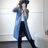 X.C.L徐独家定制欧洲站 天丝休闲中长款显瘦长袖牛仔衬衣  女潮
